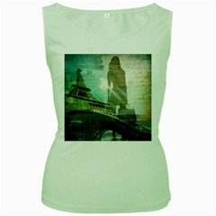Modern Shopaholic Girl  Paris Eiffel Tower Art  Womens  Tank Top (green) by chicelegantboutique