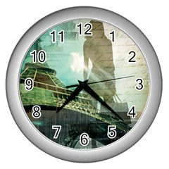 Modern Shopaholic Girl  Paris Eiffel Tower Art  Wall Clock (silver) by chicelegantboutique