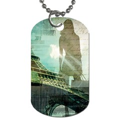Modern Shopaholic Girl  Paris Eiffel Tower Art  Dog Tag (one Sided) by chicelegantboutique
