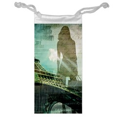 Modern Shopaholic Girl  Paris Eiffel Tower Art  Jewelry Bag by chicelegantboutique