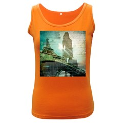 Modern Shopaholic Girl  Paris Eiffel Tower Art  Womens  Tank Top (dark Colored) by chicelegantboutique