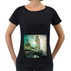 Modern Shopaholic Girl  Paris Eiffel Tower Art  Womens' Maternity T Shirt (black) by chicelegantboutique