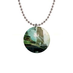 Modern Shopaholic Girl  Paris Eiffel Tower Art  Button Necklace by chicelegantboutique