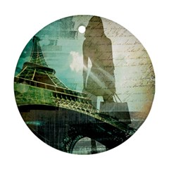Modern Shopaholic Girl  Paris Eiffel Tower Art  Round Ornament (two Sides) by chicelegantboutique