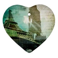 Modern Shopaholic Girl  Paris Eiffel Tower Art  Heart Ornament (two Sides) by chicelegantboutique