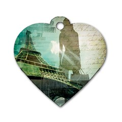 Modern Shopaholic Girl  Paris Eiffel Tower Art  Dog Tag Heart (two Sided) by chicelegantboutique