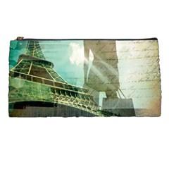 Modern Shopaholic Girl  Paris Eiffel Tower Art  Pencil Case by chicelegantboutique
