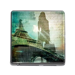 Modern Shopaholic Girl  Paris Eiffel Tower Art  Memory Card Reader With Storage (square) by chicelegantboutique