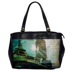 Modern Shopaholic Girl  Paris Eiffel Tower Art  Oversize Office Handbag (one Side) by chicelegantboutique