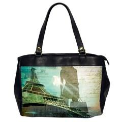 Modern Shopaholic Girl  Paris Eiffel Tower Art  Oversize Office Handbag (two Sides) by chicelegantboutique