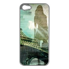 Modern Shopaholic Girl  Paris Eiffel Tower Art  Apple Iphone 5 Case (silver)