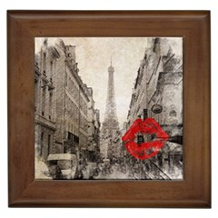 Elegant Red Kiss Love Paris Eiffel Tower Framed Ceramic Tile by chicelegantboutique