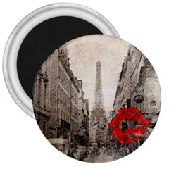 Elegant Red Kiss Love Paris Eiffel Tower 3  Button Magnet by chicelegantboutique