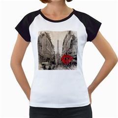 Elegant Red Kiss Love Paris Eiffel Tower Women s Cap Sleeve T Shirt (white) by chicelegantboutique