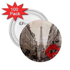 Elegant Red Kiss Love Paris Eiffel Tower 2 25  Button (100 Pack) by chicelegantboutique