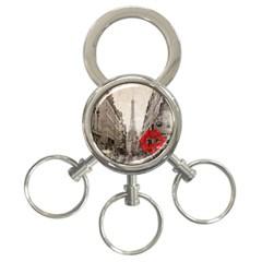 Elegant Red Kiss Love Paris Eiffel Tower 3 Ring Key Chain by chicelegantboutique