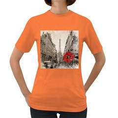 Elegant Red Kiss Love Paris Eiffel Tower Womens' T Shirt (colored) by chicelegantboutique