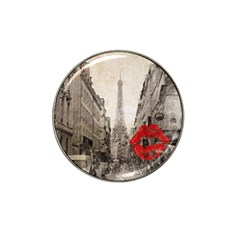 Elegant Red Kiss Love Paris Eiffel Tower Golf Ball Marker (for Hat Clip) by chicelegantboutique