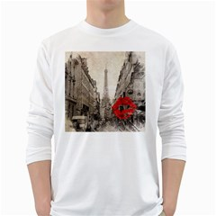 Elegant Red Kiss Love Paris Eiffel Tower Mens' Long Sleeve T Shirt (white) by chicelegantboutique