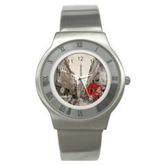 Elegant Red Kiss Love Paris Eiffel Tower Stainless Steel Watch (unisex) by chicelegantboutique
