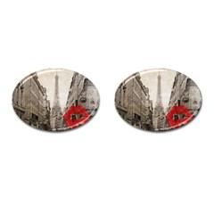 Elegant Red Kiss Love Paris Eiffel Tower Cufflinks (oval) by chicelegantboutique