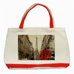Elegant Red Kiss Love Paris Eiffel Tower Classic Tote Bag (red) by chicelegantboutique