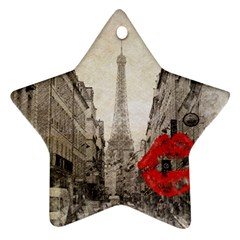 Elegant Red Kiss Love Paris Eiffel Tower Star Ornament (two Sides) by chicelegantboutique