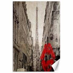Elegant Red Kiss Love Paris Eiffel Tower Canvas 24  X 36  (unframed) by chicelegantboutique