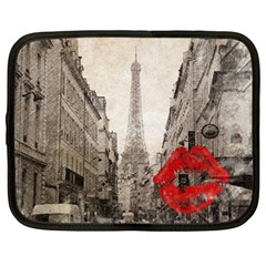 Elegant Red Kiss Love Paris Eiffel Tower Netbook Case (large) by chicelegantboutique