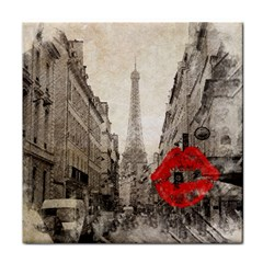 Elegant Red Kiss Love Paris Eiffel Tower Face Towel by chicelegantboutique