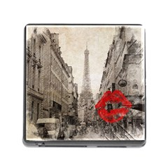 Elegant Red Kiss Love Paris Eiffel Tower Memory Card Reader With Storage (square) by chicelegantboutique