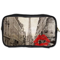 Elegant Red Kiss Love Paris Eiffel Tower Travel Toiletry Bag (one Side) by chicelegantboutique