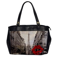 Elegant Red Kiss Love Paris Eiffel Tower Oversize Office Handbag (one Side) by chicelegantboutique