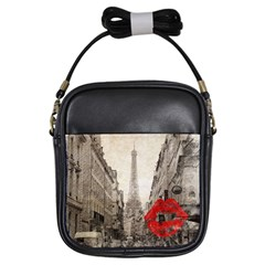 Elegant Red Kiss Love Paris Eiffel Tower Girl s Sling Bag by chicelegantboutique