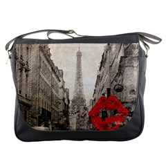 Elegant Red Kiss Love Paris Eiffel Tower Messenger Bag by chicelegantboutique