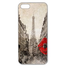 Elegant Red Kiss Love Paris Eiffel Tower Apple Seamless Iphone 5 Case (clear) by chicelegantboutique