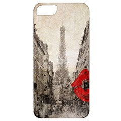 Elegant Red Kiss Love Paris Eiffel Tower Apple Iphone 5 Classic Hardshell Case by chicelegantboutique