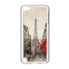 Elegant Red Kiss Love Paris Eiffel Tower Apple Ipod Touch 5 Case (white) by chicelegantboutique