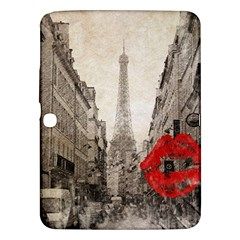 Elegant Red Kiss Love Paris Eiffel Tower Samsung Galaxy Tab 3 (10 1 ) P5200 Hardshell Case  by chicelegantboutique