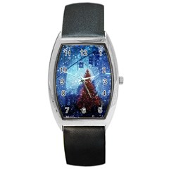 Elegant Winter Snow Flakes Gate Of Victory Paris France Tonneau Leather Watch by chicelegantboutique