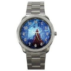 Elegant Winter Snow Flakes Gate Of Victory Paris France Sport Metal Watch by chicelegantboutique
