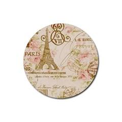 Floral Eiffel Tower Vintage French Paris Art Drink Coaster (round) by chicelegantboutique