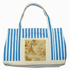 Floral Eiffel Tower Vintage French Paris Art Blue Striped Tote Bag by chicelegantboutique