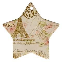 Floral Eiffel Tower Vintage French Paris Art Star Ornament (two Sides) by chicelegantboutique