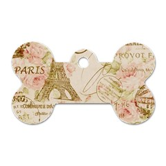 Floral Eiffel Tower Vintage French Paris Art Dog Tag Bone (two Sided) by chicelegantboutique