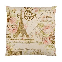 Floral Eiffel Tower Vintage French Paris Art Cushion Case (two Sided)  by chicelegantboutique