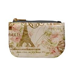 Floral Eiffel Tower Vintage French Paris Art Coin Change Purse by chicelegantboutique