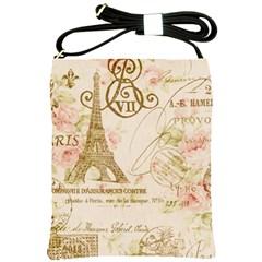 Floral Eiffel Tower Vintage French Paris Art Shoulder Sling Bag by chicelegantboutique
