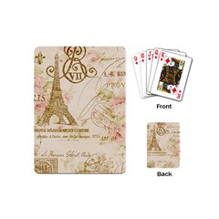 Floral Eiffel Tower Vintage French Paris Art Playing Cards (mini) by chicelegantboutique