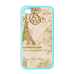 Floral Eiffel Tower Vintage French Paris Art Apple Iphone 4 Case (color) by chicelegantboutique